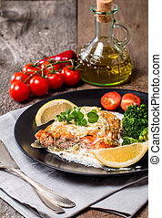 salmone munito grata, bistecca, con, salsa crema