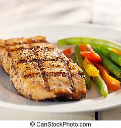 salmone munito grata, con, verdura