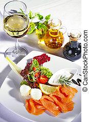 salmone, piatto, pietanza, in, ristorante