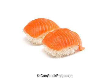 salmone, sushi, giapponese, quotidiano, cibo