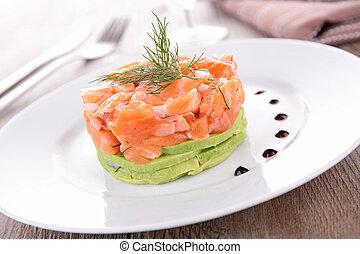 salmone, tartaro, avocado