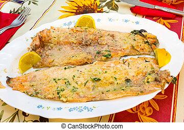 salmone, trota, cotto, in, il, forno
