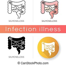 Salmonellosis icon. Linear black and RGB color styles. ...