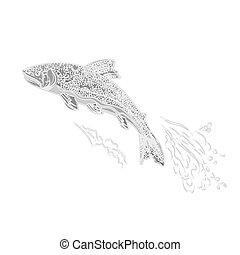 salmonidae, weinlese, gravieren, forelle