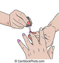 salon., 指の爪, 化粧品, マニキュア, 待遇, 手, ∥あるいは∥, 釘, 美しさ, 家, 行なわれた