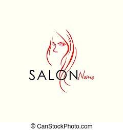 salon, art, beauté, vecteur, conception, logo, logo, ligne