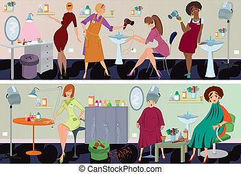 salon, banner, arbejdere, skønhed