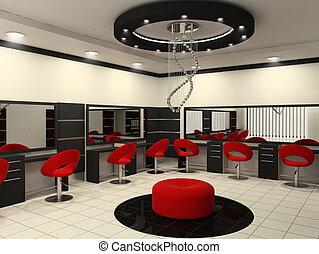 salon, beauté, plafond, créatif, intérieur, luxueux