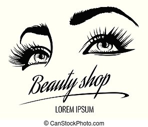 sourcils salon badge beaut cils makeup s vecteur illustration vectorielle. Black Bedroom Furniture Sets. Home Design Ideas