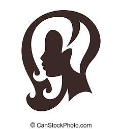 salon, begrepp, silhuett, skönhet, kvinna, emblem, eller, frisering