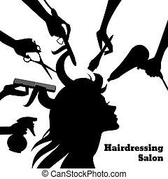 salon, begrepp, skönhet