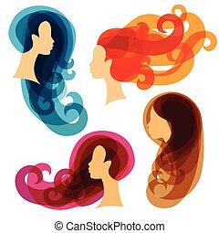salon, begrepp, skönhet, silhouettes, kvinnor, eller, frisering