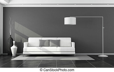 salon, blanc, moderne, noir