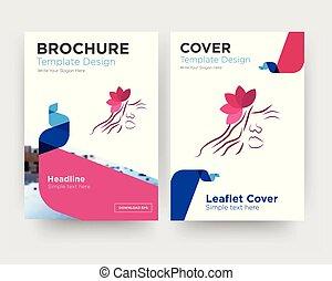 Vektor, broschüre, flieger, gesundheit, schablone, front, seite ...