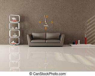 salon, brun, minimal