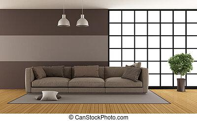 salon, brun, moderne