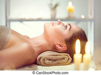 salon, brunette, spa., beauty, relaxen, vrouw, spa