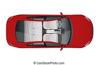Salon Car sedan view from above, vector illustration