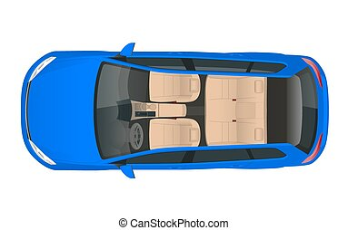Salon car wagon view from above, vector illustration