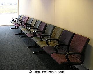 salon, chaises, aéroport, transit
