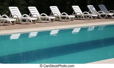salon, chaises, piscine, natation