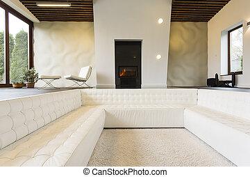 salon, cheminée, salle, luxueux