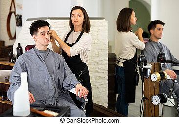 salon cheveux, coiffure, male's, coupure, coiffeur