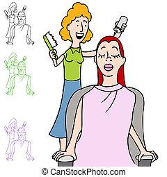 salon cheveux, coloration
