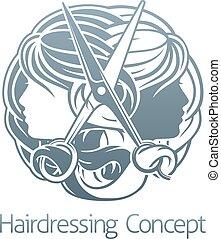 salon cheveux, concept, styliste, coiffeur