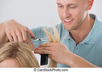 salon cheveux, découpage, customer's, coiffeur