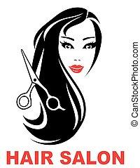 salon cheveux, femme, icône, figure