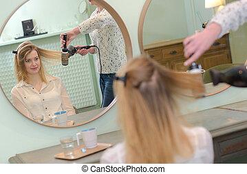 salon cheveux, femme, sécher, styliste, beauté
