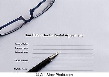 salon cheveux, loyer, cabine, accord