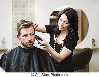 salon cheveux, situation