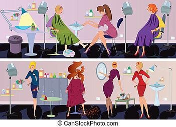 salon, chorągiew, piękno, pedicure