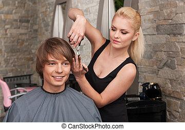 salon, client., sittande, frisör, hår, kvinnlig, klippande, ...