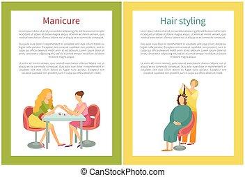 salon, clous, main, vecteur, traitement, manucure, spa