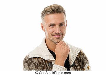salon coiffure, coiffeur, naturel, mâle, produits de beauté, facial, regarder, concept., hair., grizzle, poil, soigné, beauty., mûrir, bon, look., séduisant, puits, espèce, hairdresser., model., homme