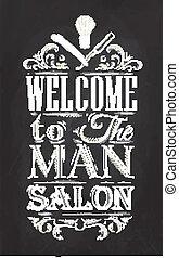 salon coiffure, craie, affiche