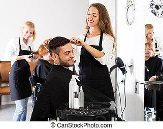 salon coiffure, homme