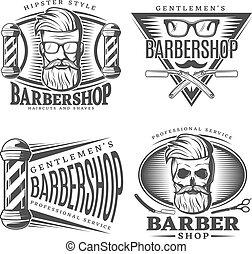 salon coiffure, mettez stylique, éléments