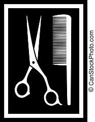 salon coiffure, peigne, -, icône, ciseaux