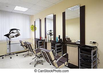 salon coiffure, salle, à, trois, fonctionnement, endroits,...