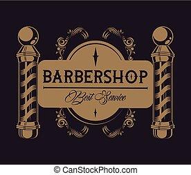 salon coiffure, vendange, emblème