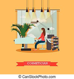 salon, concept, beauté, banners., vecteur, studio, traitement, peau, intérieur