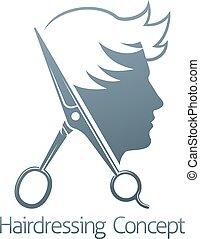 salon, concept, coiffeur, cheveux, ciseaux, mâle, homme