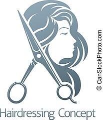 salon, concept, coiffeur, cheveux, femme, ciseaux