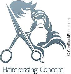 salon, concept, coiffeur, cheveux, femme, ciseaux, homme