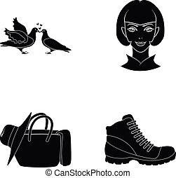 salon, cosmetics, celebration and other web icon in black style. shoes, atelier, hairdresser, icons in set collection.