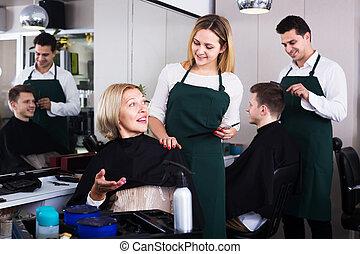 salon, coupures, cheveux, blond